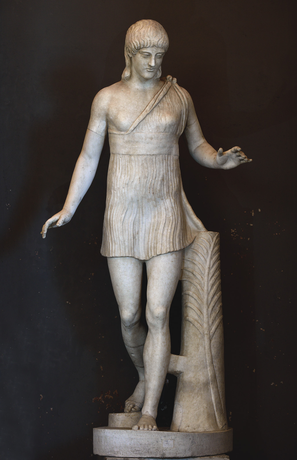 "Running girl (the so-called ""Atalanta Barberini""). Marble. Inv. No. 2784. Rome, Vatican Museums, Gallery of the Candelabra"