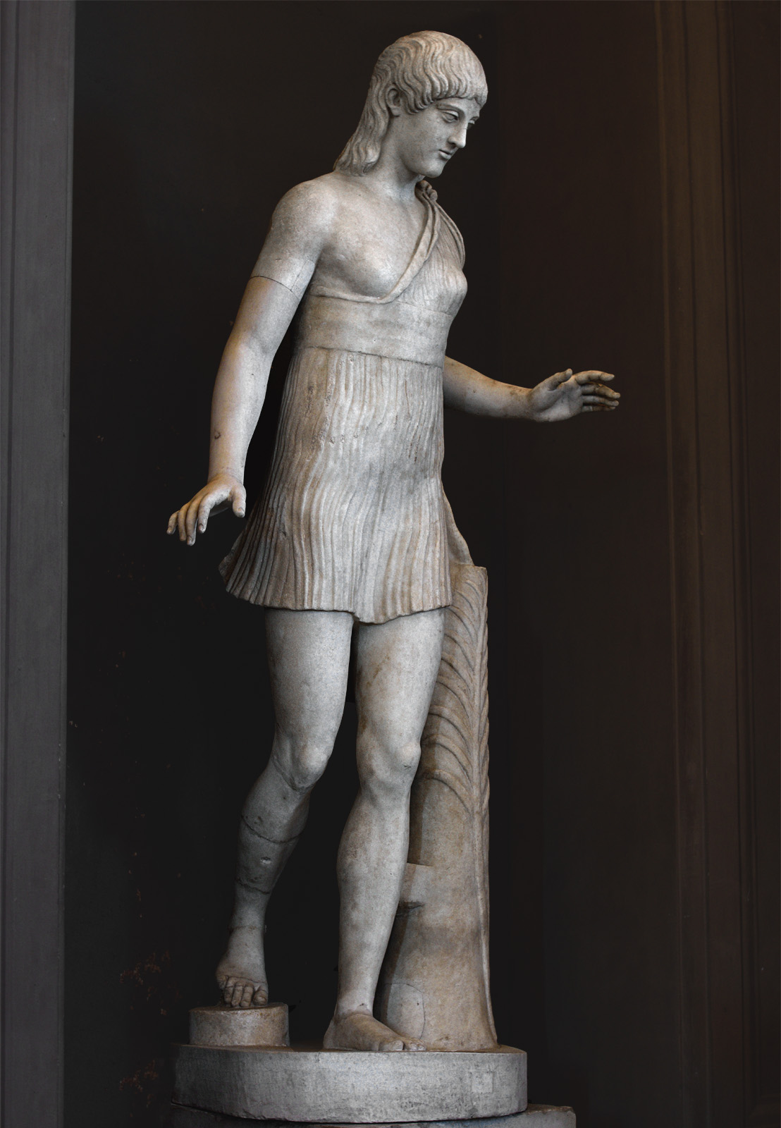 """Running girl (the so-called """"Atalanta Barberini""""). Marble. Inv. No. 2784. Rome, Vatican Museums, Gallery of the Candelabra"""