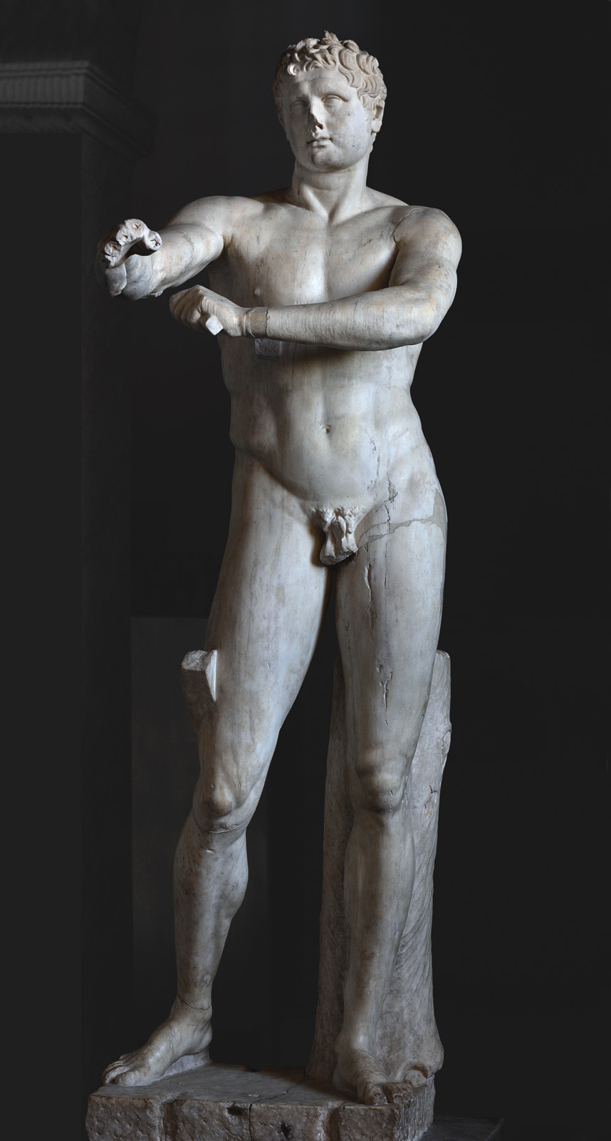 Apoxyomenos. Marble. Roman copy of the 1st century CE of a bronze original by Lysippos ca. 320 BCE. Inv. No. 1185. Rome, Vatican Museums, Pius-Clementine Museum, Apoxyomenos Cabinet, 42