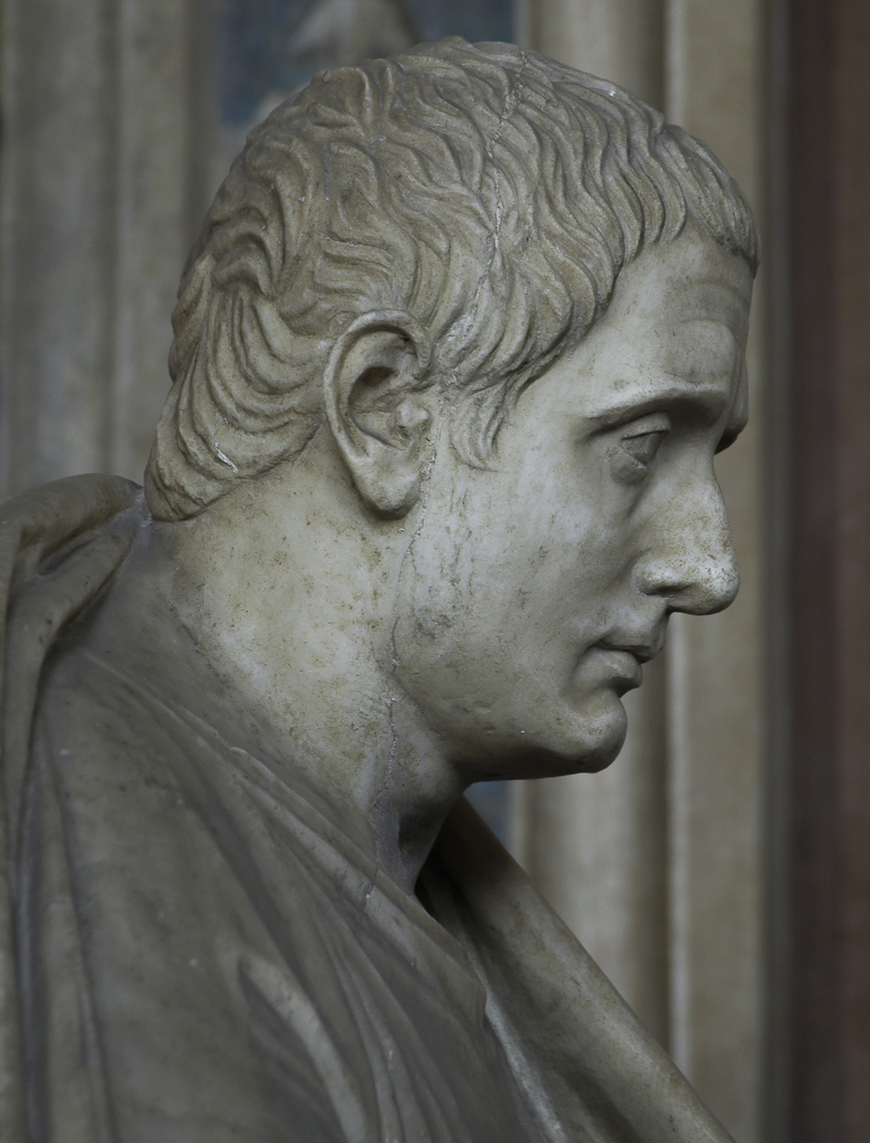 Posidippus. Marble. Roman copy of the 1st century CE of the Greek original of mid-3rd cent. BCE. Inv. No. 735. Rome, Vatican Museums, Pius-Clementine Museum, Gallery of statues, 51