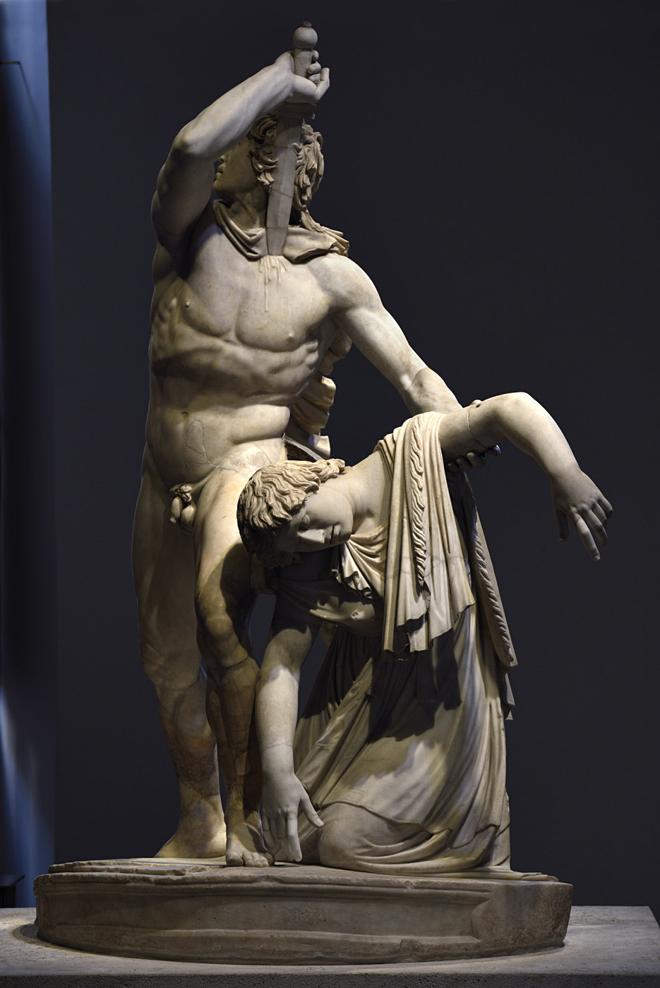 "Gaul killing himself and his wife (also known as ""Ludovisi Gaul"" or ""The Galatian Suicide""). Phrygian marble (marmor Docimenum). Roman copy of the early 2nd cent. CE after a bronze Ellinistic original of ca. 230—220 BCE. Restored with the Carrara marble by Ippolito Buzzi. Inv. No. 6808. Rome, Roman National Museum, Palazzo Altemps"
