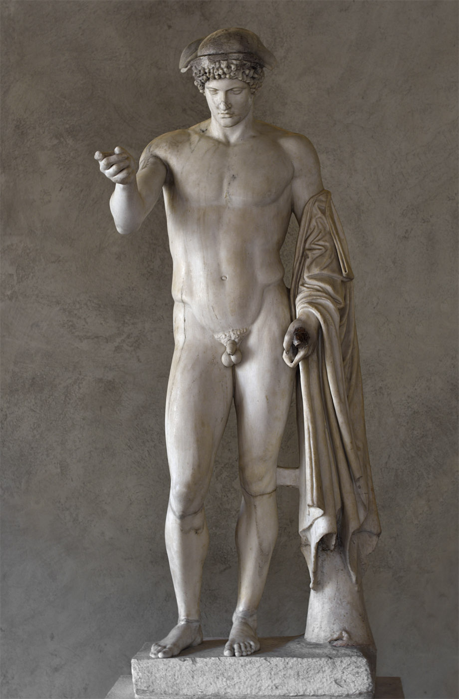 Hermes Loghios. Medium-grained (Pentelic) marble. Roman copy  2nd cent. CE after a bronze Greek original of the 5th cent. BCE ascribed to Phidias. H. 183 cm. Inv. No. 8624. Rome, Roman National Museum, Palazzo Altemps