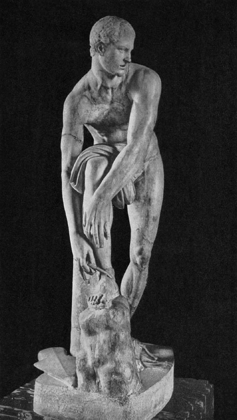 """Hermes tying his sandal, so-called """"Iason."""" Marble. Roman copy after a Greek original by Lysippos of the 4th century BCE. Paris, Louvre Museum"""