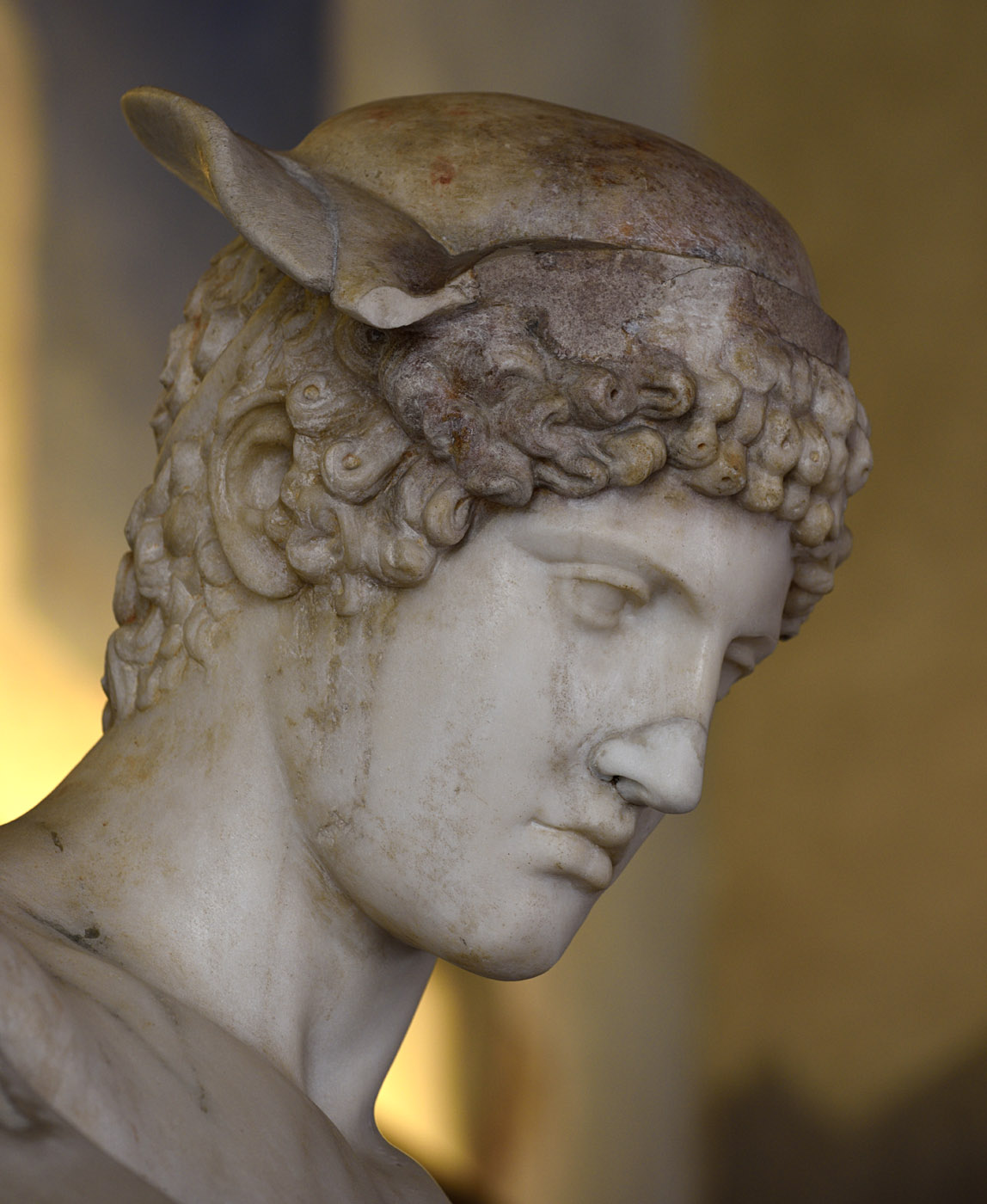 Hermes Loghios (close-up). Medium-grained (Pentelic) marble. Roman copy  2nd cent. CE after a Greek original of the 5th cent. BCE ascribed to Phidias. Inv. No. 8624. Rome, Roman National Museum, Palazzo Altemps