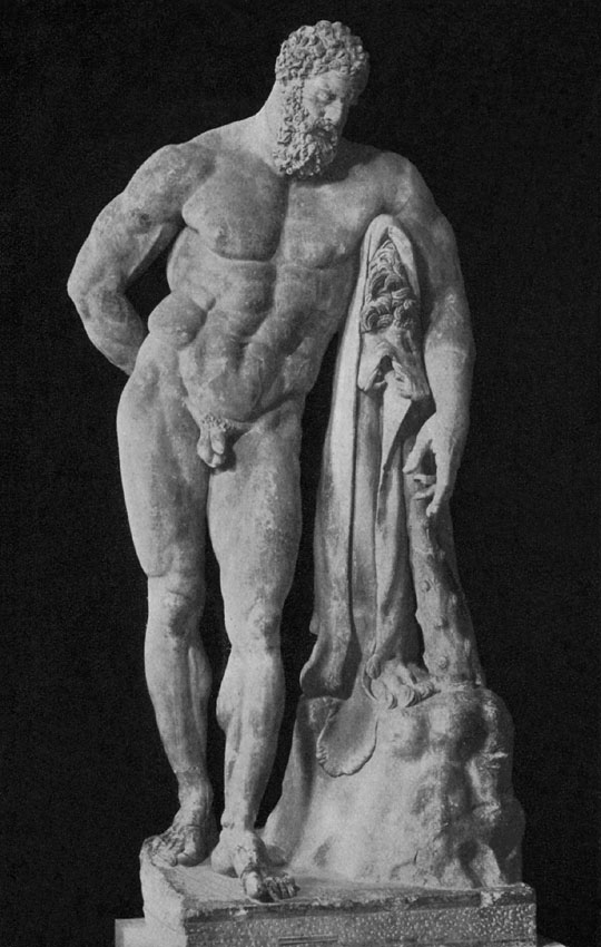 Heracles Farnese. Marble. Roman work of the age of empire after an original of the second half of the 4th century BCE. Inscription on the base: ΓΛΙΚΟΝ ΑΤΑΙΝΑΙΟΣ ΕΠΙΕΣΕ (Athenian Glykon has made [statue]). Naples, National Archaeological Museum