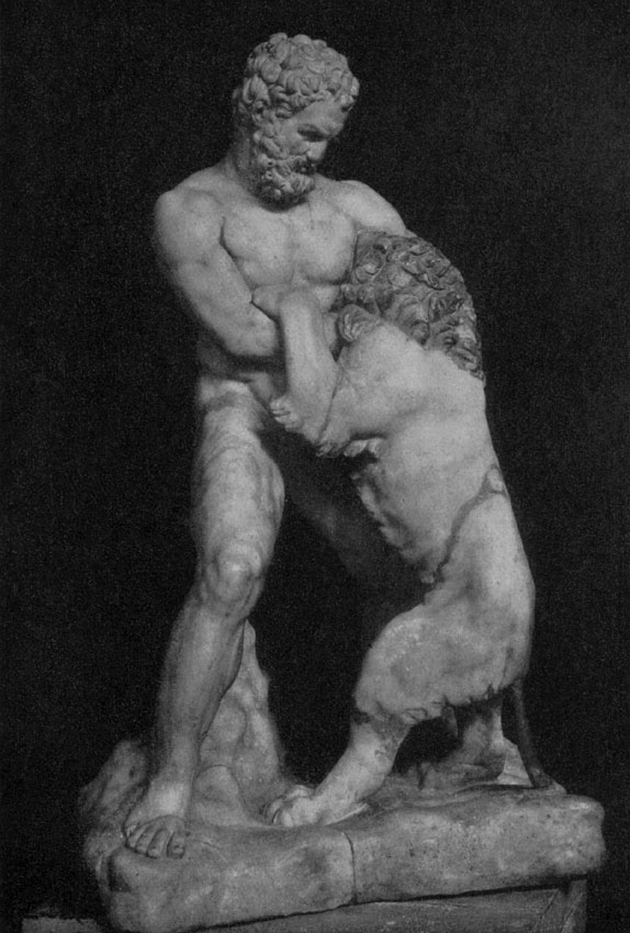 Heracles struggling with the Nemean lion. Marble. Saint Petersburg, The State Hermitage Museum