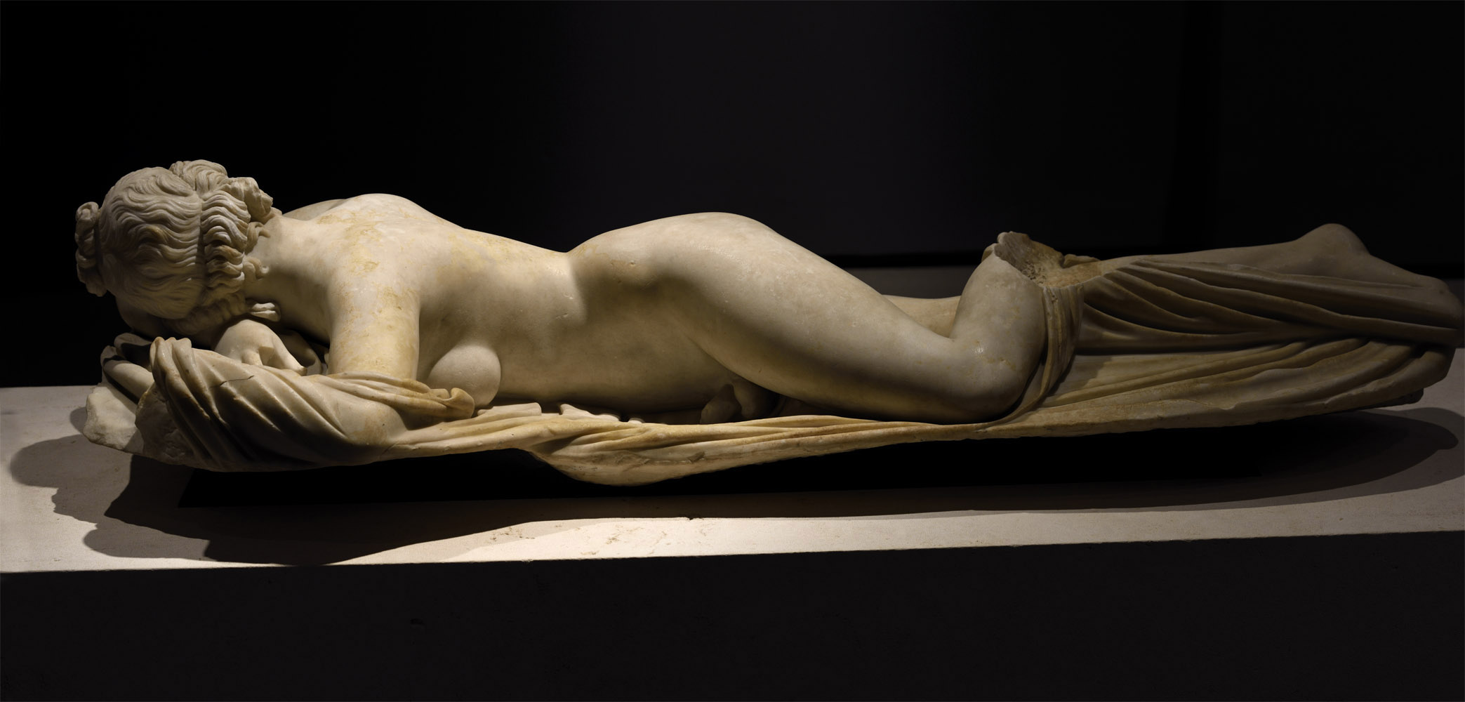 Sleeping Hermaphroditus. Microasiatic marble. Roman copy of the mid-2nd cent. CE after a bronze original of the Asia Minor of the mid-2nd cent. BCE. Inv. No. 1087. Rome, Roman National Museum, Palazzo Massimo alle Terme