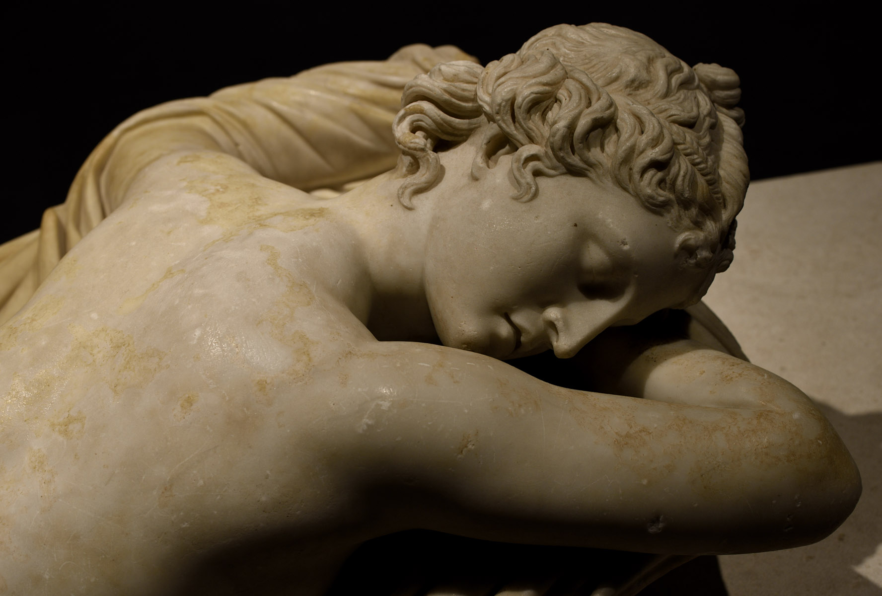 Sleeping Hermaphroditus (close-up). Microasiatic marble. Roman copy of the mid-2nd cent. CE after a bronze original of the Asia Minor of the mid-2nd cent. BCE. Inv. No. 1087. Rome, Roman National Museum, Palazzo Massimo alle Terme