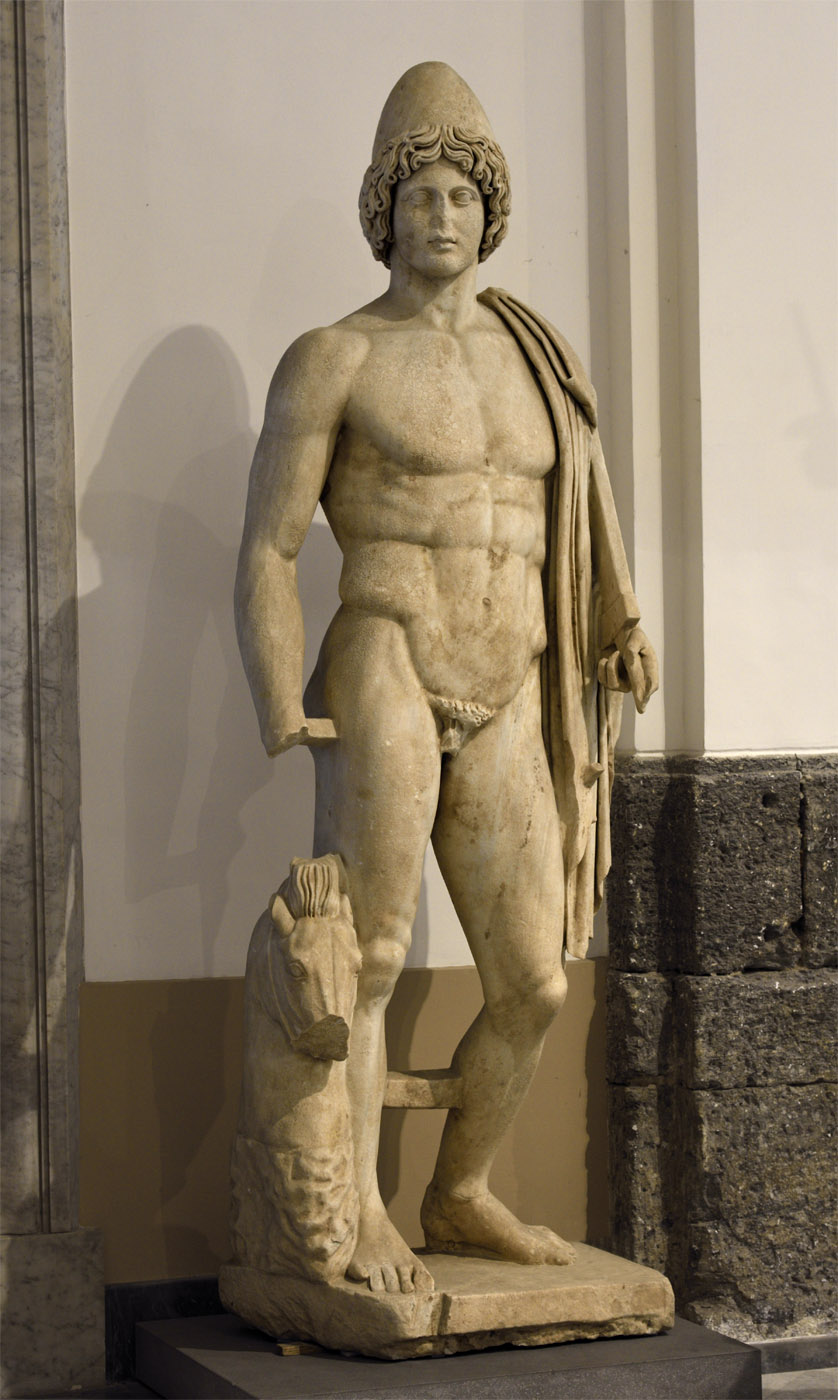 Doryphoros. Marble. Roman copy of 2nd cent. CE after a Greek original of the 5th century BCE. Inv. Nos. 131209 and 230872. Naples, National Archaeological Museum