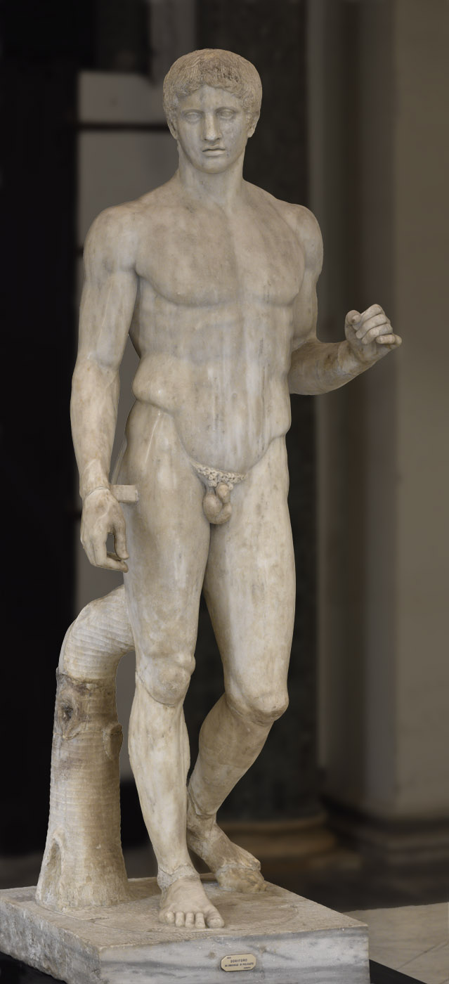 Doryphoros. Marble. Roman copy after a Greek bronze original by Polykleitos of the 5th century BCE. Inv. No. 6011. Naples, National Archaeological Museum