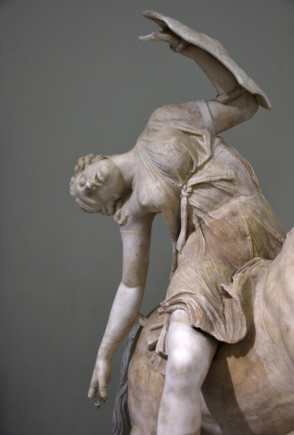Amazon on horseback (close-up). Marble. Roman copy of the 2nd cent. CE after a Greek original of the 2nd century BCE. Inv. No. 6405. Naples, National Archaeological Museum