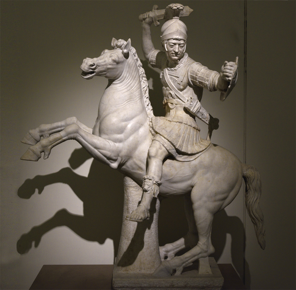 Warrior on horseback. Marble. Roman copy of the 2nd cent. CE after a Greek original of the 2nd century BCE. Inv. No. 6407. Naples, National Archaeological Museum