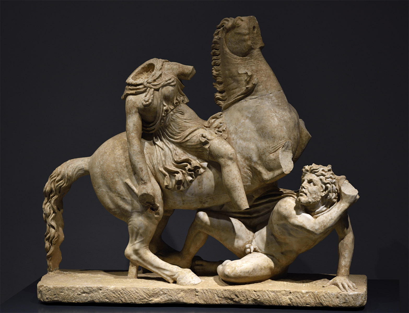 Amazon on horseback and a barbar. Pentelic marble. Roman copy of 2nd cent. CE after a Greek original of the 2nd century BCE. Inv. No. 124678. Rome, Roman National Museum, Palazzo Massimo alle Terme