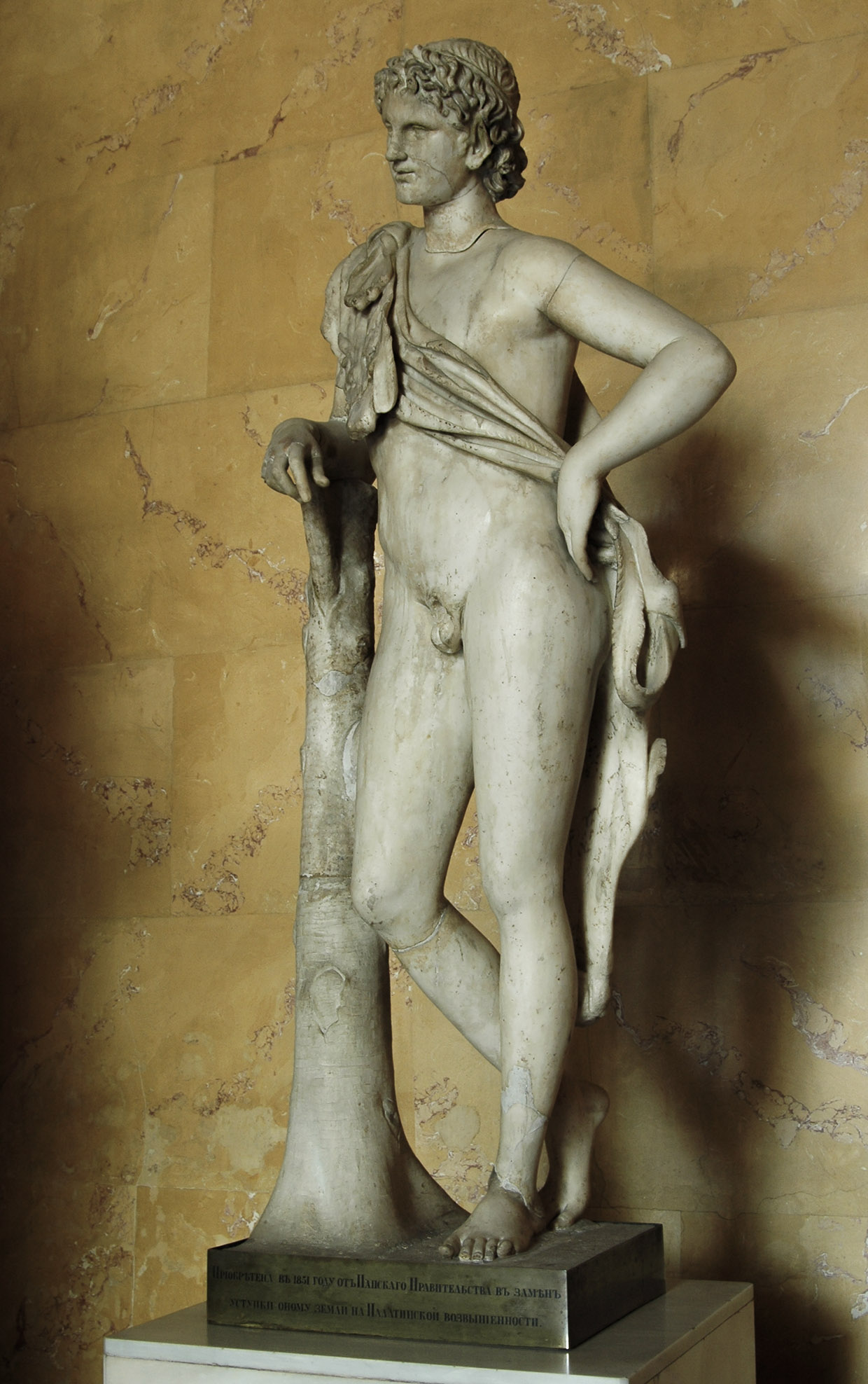 Resting Satyr. Marble. Roman, after Praxiteles' model of the first half of 4th century BCE. Inv. No. A 198. Saint Petersburg, The State Hermitage Museum
