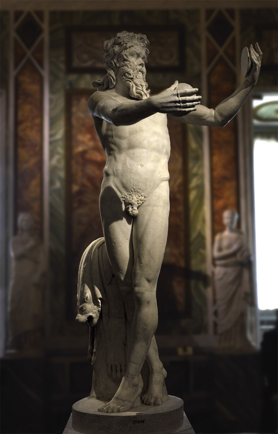 Dancing satyr. Pentelic marble. Roman copy ca 220 CE after a Greek original by Lysippos of the 4th century BCE (?).  Inv. No. CCXXV. Rome, Museum and Gallery of Villa Borghese, Room VIII