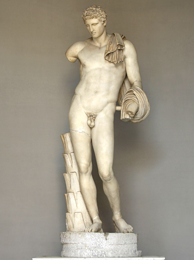 Statue of Hermes Belvedere. Coarse-grained white marble. Roman copy of 117—138 CE after a Greek bronze original of the 4th century BCE.  Inv. No. 907. Rome, Vatican Museums, Pius-Clementine Museum, Octagonal Court, Hermes Cabinet, 2