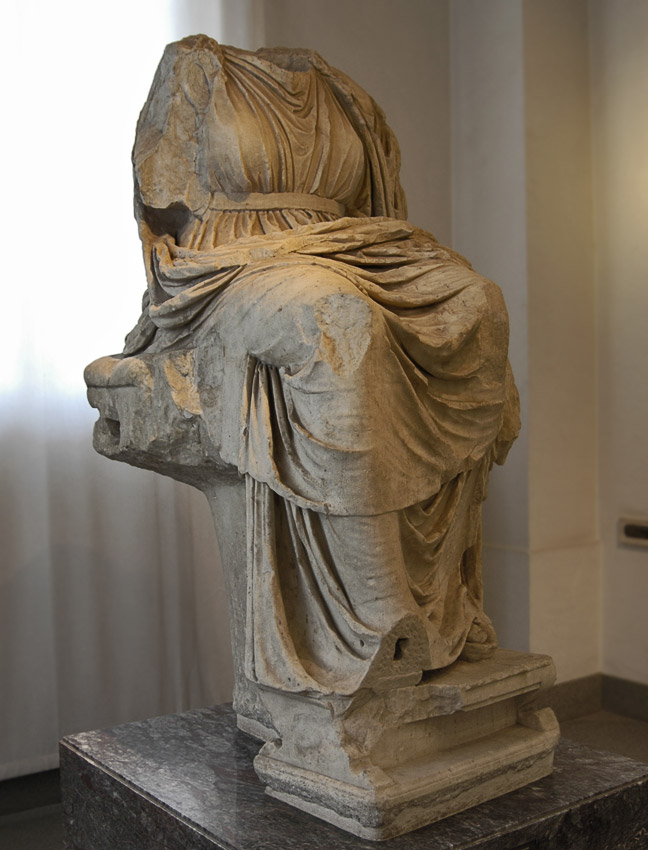 Magna Mater on the throne. Greek marble. Roman copy of the Flavian time (69—96 CE) after a Hellenistic original. Inv. No. 425523. Rome, Palatine Museum