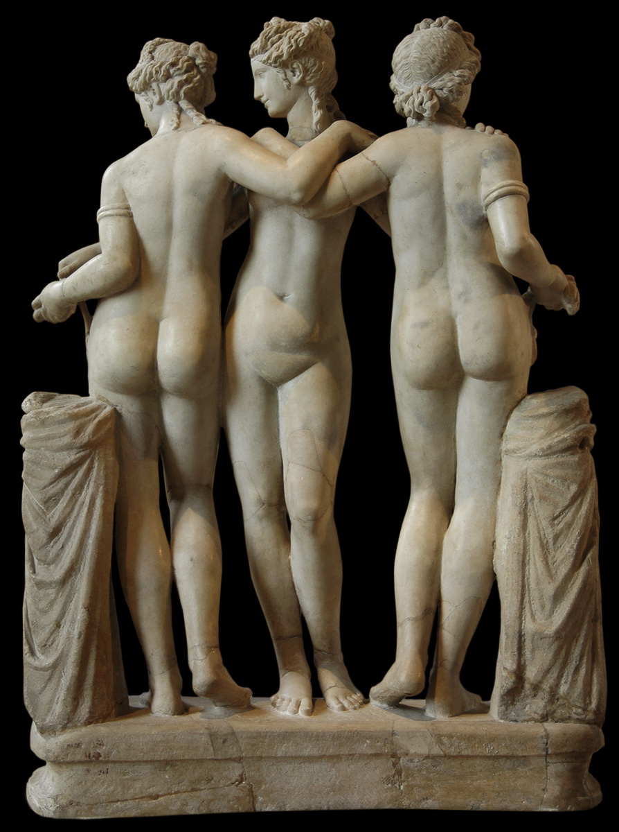 Three Graces. Marble. Roman copy of the Imperial Era (2nd century CE?) after a Hellenistic original. Heads is modern restoration. Inv. No. MR 211 (Ma 287). Paris, Louvre Museum