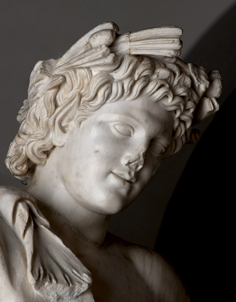 Resting Satyr (close-up). Carrara marble. Roman copy (first half of the 2nd cent. CE), after Praxiteles' model of the first half of 4th century BCE. Santa Maria Capua Vetere, Archaeological Museum of ancient Capua
