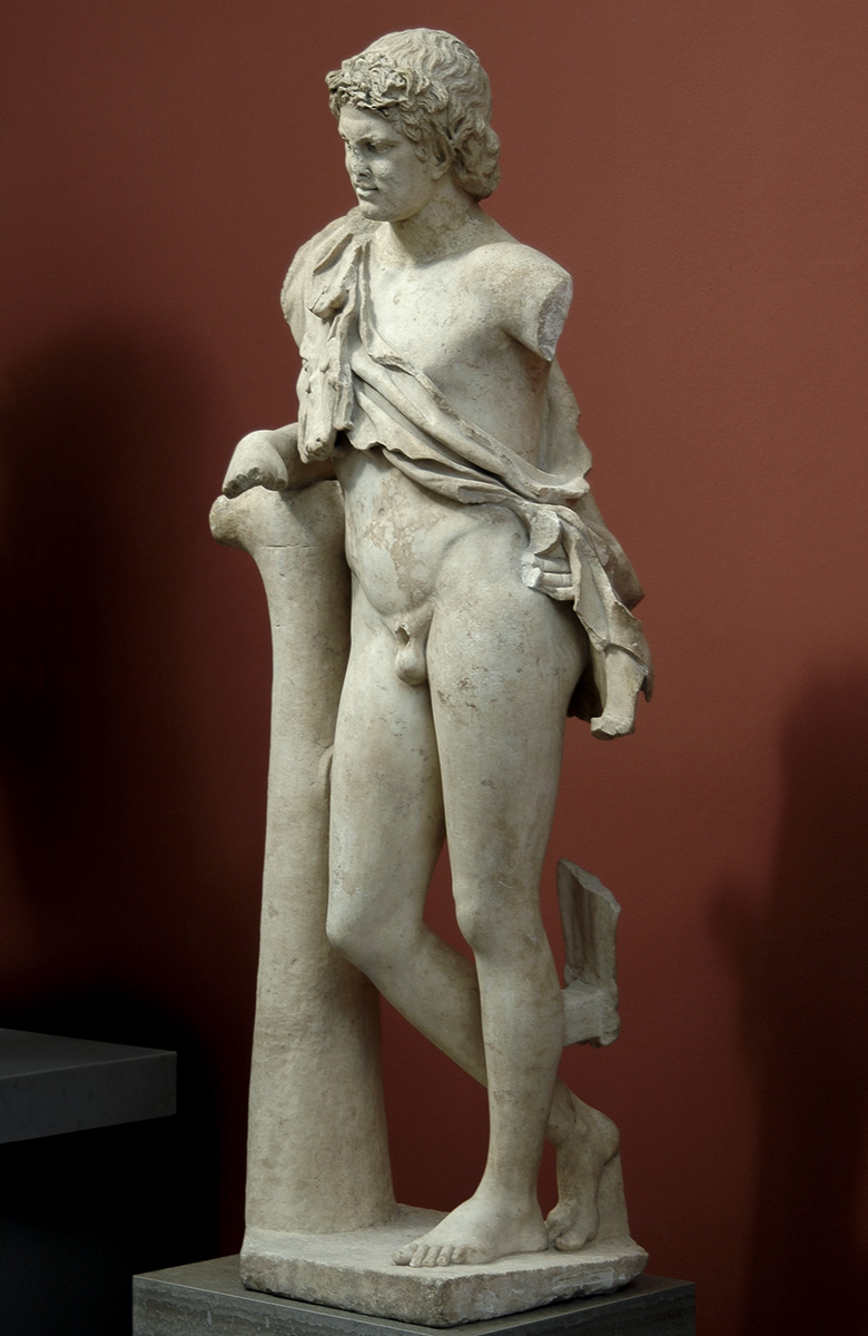 """The Resting Satyr"". Marble. Roman copy of the 2nd cent. CE after a Praxiteles' model ca. 340-330 BCE. Height 180 cm. Inv. No. 474. Copenhagen, New Carlsberg Glyptotek"