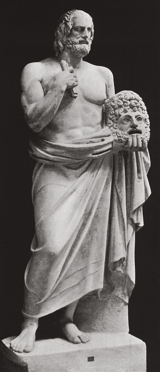 Statue of an unknown poet with the head of Euripides, not belonging to the statue. Marble. Rome, Vatican Museums, Chiaramonti Museum, New wing, 46