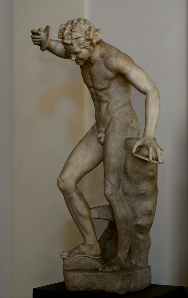 Satyr with cymbals and kroupezion. Marble. Roman copy after a Greek marble or bronze model of the 1st century BCE. Height 1.46 m. Inv. No. 710. Rome, National Gallery of Ancient Art of Corsini Palace
