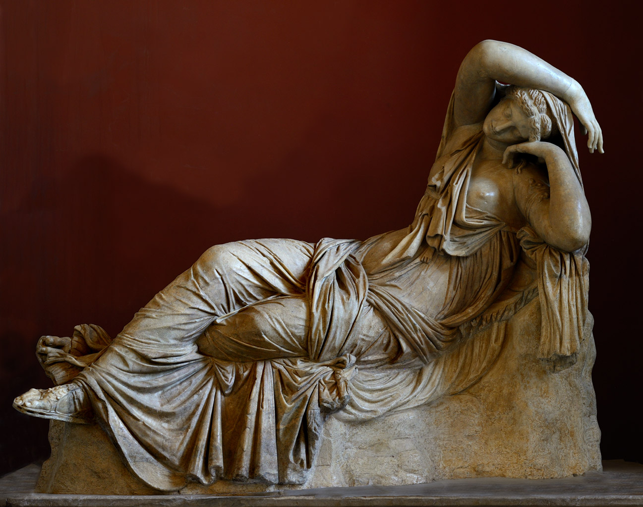 Sleeping Ariadne. Phrygian marble. Roman copy after a model by the Pergamon school of the early 2nd century BCE. Inv. No. 548. Rome, Vatican Museums, Pius-Clementine Museum, Gallery of statues, 11