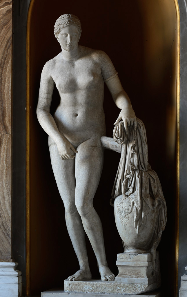 Aphrodite. Marble. Roman copy of the 2nd century CE after a Greek original of the 4th cent. BCE.  Inv. No. 812. Rome, Vatican Museums, Pius-Clementine Museum, Mask Room, 37