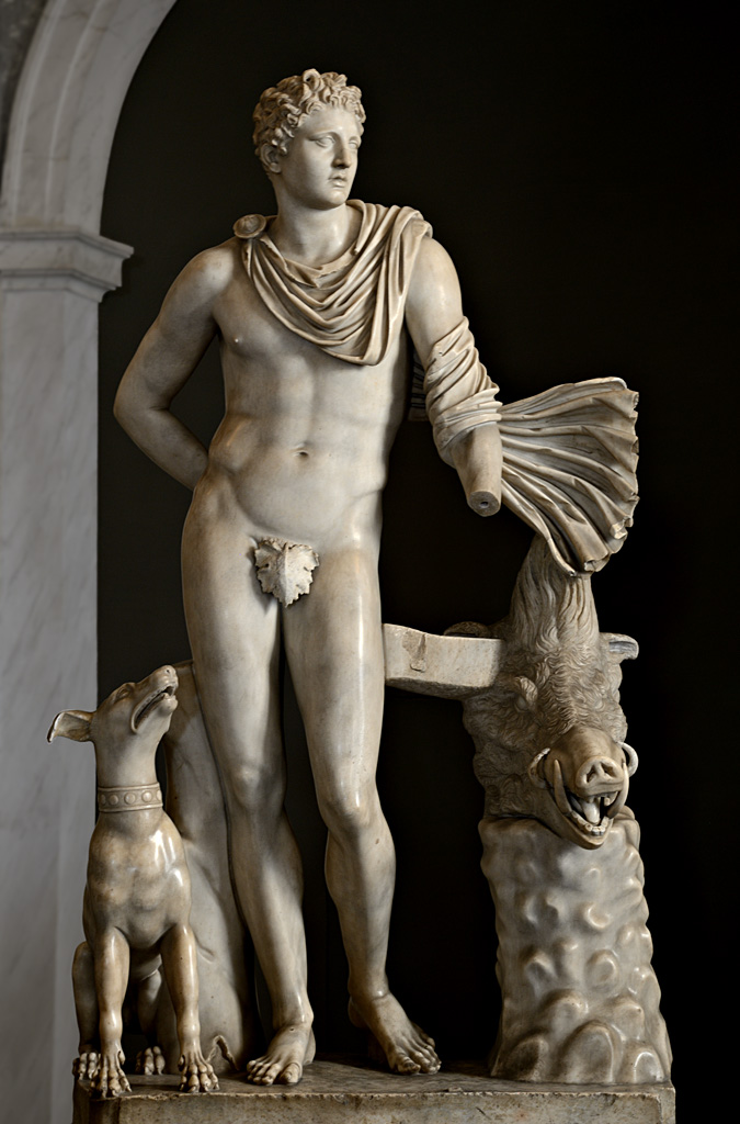 Meleager. Marble. Roman copy of the 2nd century CE after a Greek original of the 4th cent. BCE.  Inv. No. 490. Rome, Vatican Museums, Pius-Clementine Museum, Room of the Animals, 40