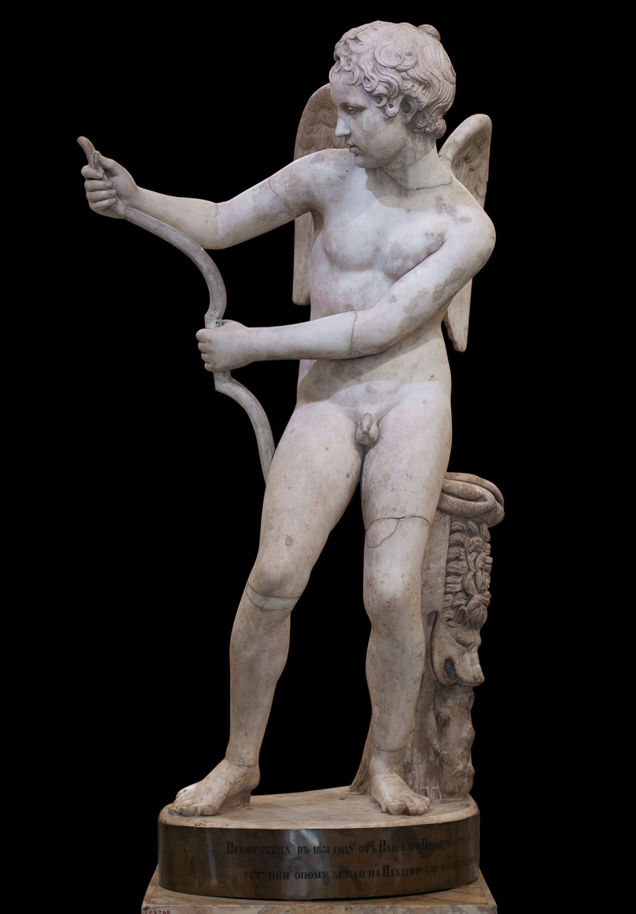 Eros stringing his bow. Marble. Second half of the 2nd cent. CE after a Greek original by Lysippos of the second half of the 4th cent. BCE. Inv. No. Гр. 3102 (А 199). Saint Petersburg, The State Hermitage Museum