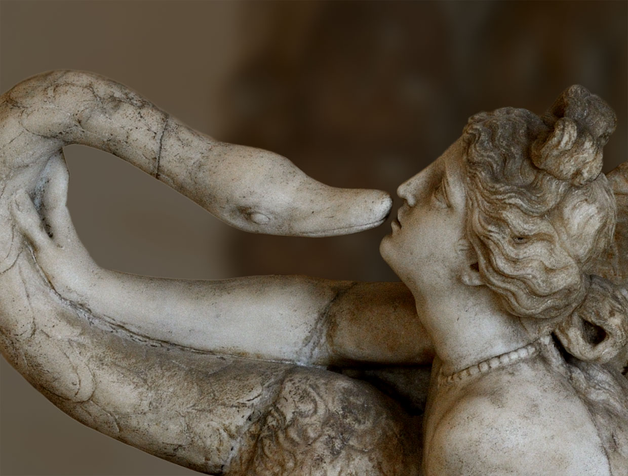 Leda and the Swan (close-up). Marble. Roman copy of late Hadrian age from an attic original of mid-1st. century BCE). Inv. No. 30. Venice, National Archaeological Museum