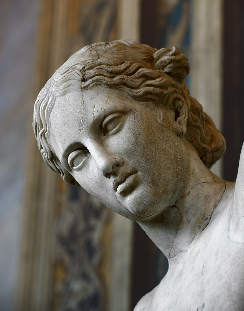 "Apollo Sauroktonos (""Lisard-killer""). A close-up. Roman copy after a bronze original ca. 350 BCE by Praxiteles. Inv. No. 750. Rome, Vatican Museums, Pius-Clementine Museum, Gallery of statues, 62"