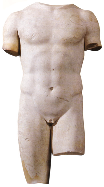 Torso of an ephebe. Fine-grained marble (Greek?). Roman period. Height 50 cm. Inv. No. A.941. Saint Petersburg, The State Hermitage Museum