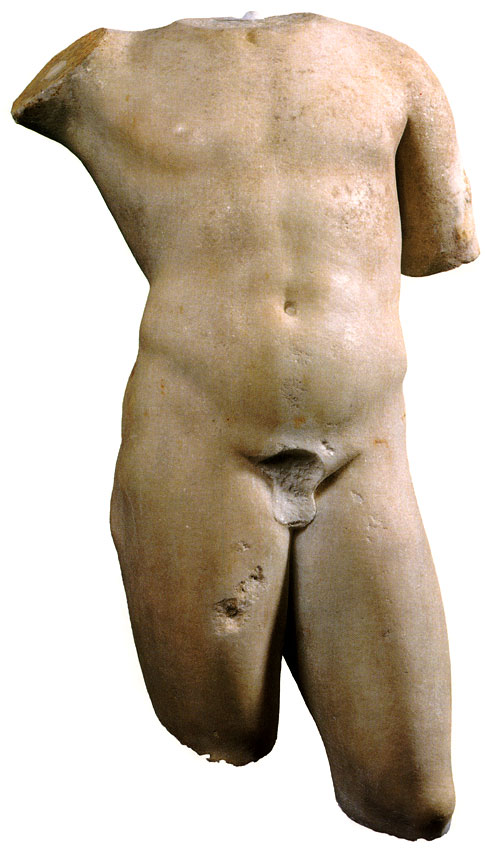 Torso of an ephebe. Coarse-grained marble (Italy?). Roman copy based on a Greek original of the 4th century BCE. Height 60 cm. Inv. No. A. 149. Saint Petersburg, The State Hermitage Museum
