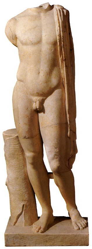 Torso of an ephebe. Fine-grained marble (Italy?). Roman period, based on a Greek original from the 5th century BCE. Height 1.33 m. Inv. No. A936. Saint Petersburg, The State Hermitage Museum