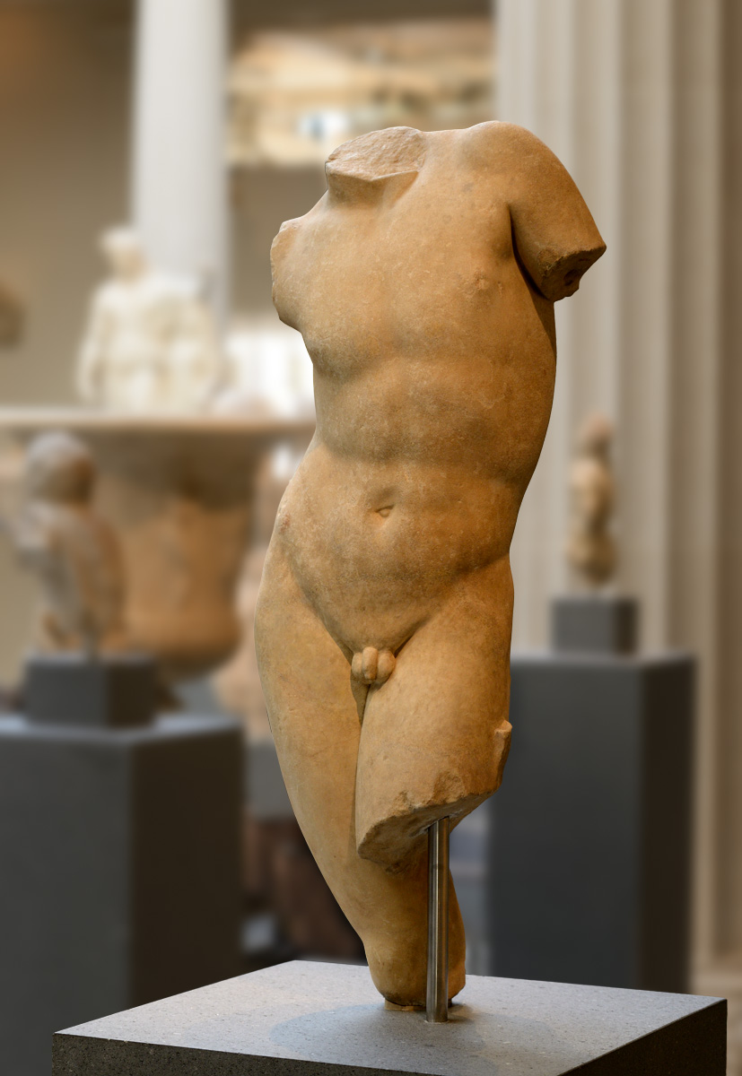 Torso of a youth. Marble. Roman period (1st—2nd cent. CE) based on a Greek original from the 4th century BCE. Inv. No. 13.229.1. New York, the Metropolitan Museum of Art
