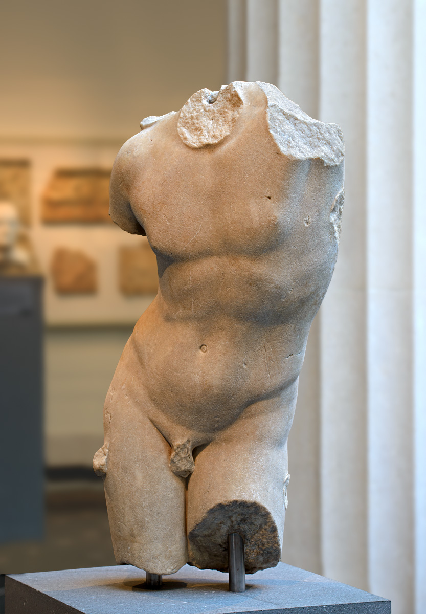 Torso of Eros. Marble. Roman period (1st—2nd cent. CE) Adaptation of a Greek bronze statue representing Apollo Sauroktonos (Lizard Slayer) of ca. 350 BCE by Praxiteles. Inv. No. 24.97.14. New York, the Metropolitan Museum of Art