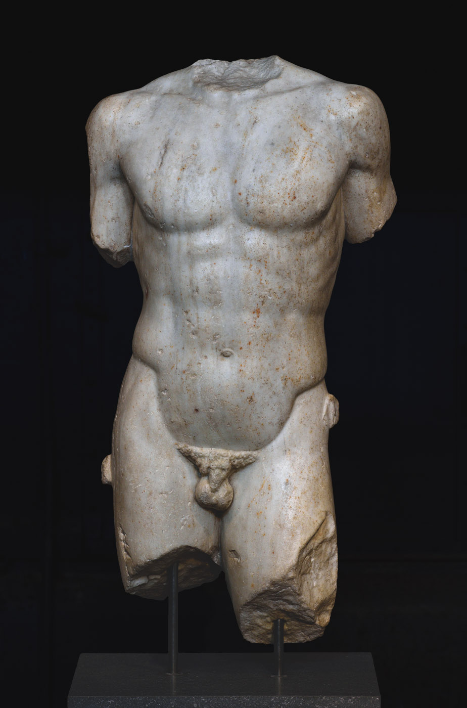 Torso of Apollo (the so-called Omphalos). Pentelic marble. Roman work of the end-1st—early-2nd cent. CE after a Greek bronze statue by Kalamis of ca. 370—360 BCE.  Inv. No. MC 1832. Rome, Capitoline Museums, Museum Montemartini (Centrale Montemartini), II. 26