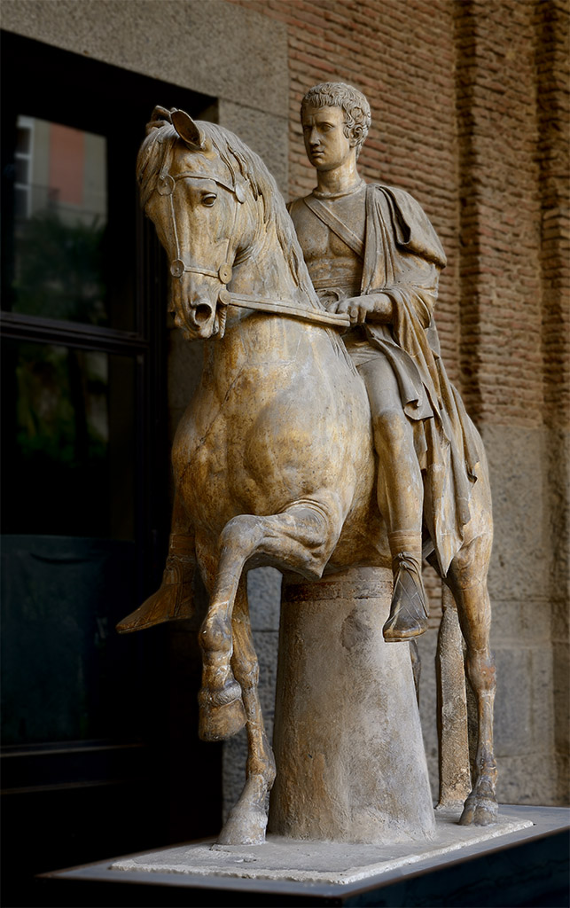 Equestrian statue of Marcus Nonius Balbus. Marble. Second half of the 1st century BCE. Head is an early-19th century work. Naples, National Archaeological Museum