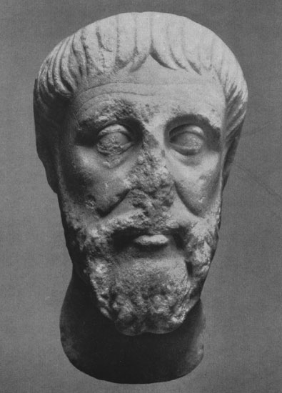 Head of a bearded man from Kerch. Marble. 98—117 CE. Moscow, the Pushkin Museum of Fine Arts
