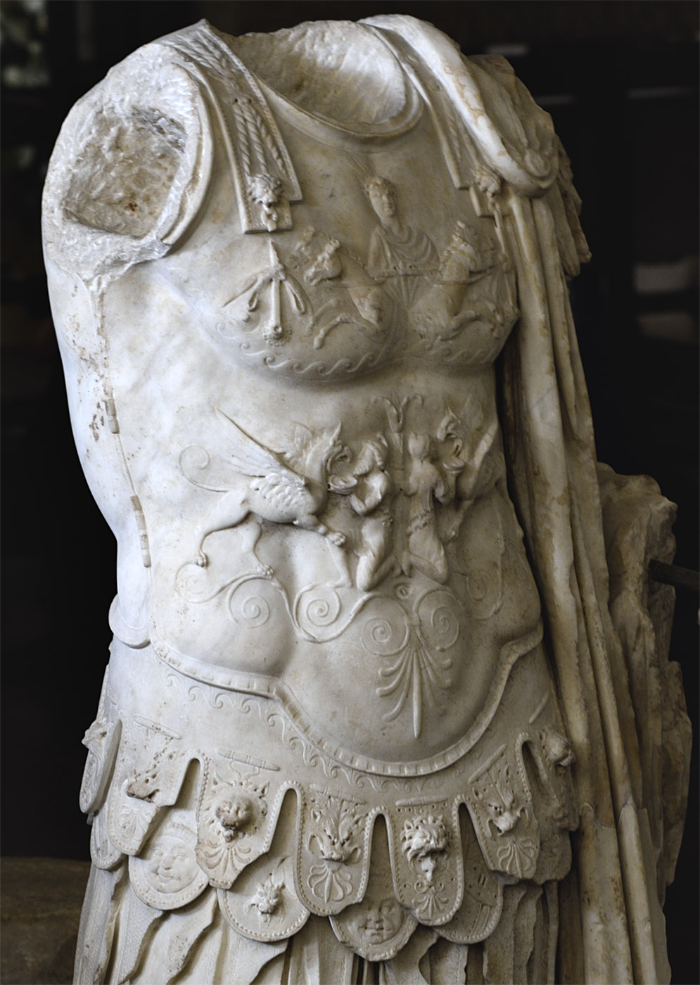 Statue of a general in armour (close-up). Marble. Age of Nero (54—68 CE). Inv. No. 9948. Rome, Vatican Museums, Gregorian Profane Museum