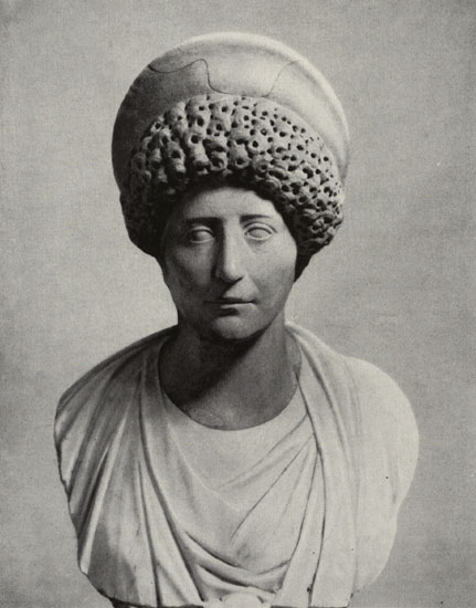 Bust of a Roman woman. Marble. 98—117 CE. Saint Petersburg, The State Hermitage Museum