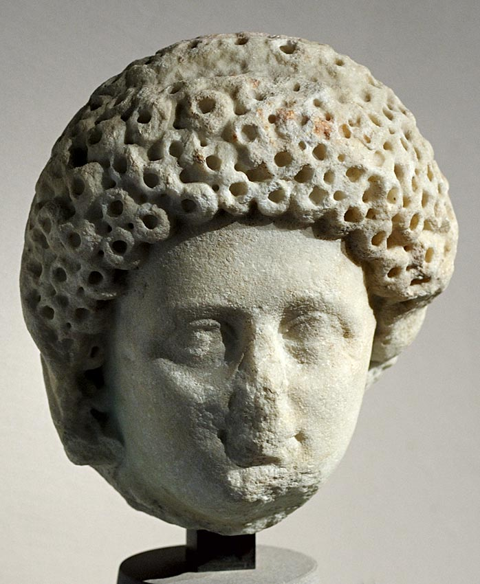 "A female portrait. Marble. Last decades of the 1st century CE. Inv. No. MC 243. Cremona, ""Ala Ponzone"" City Museum"