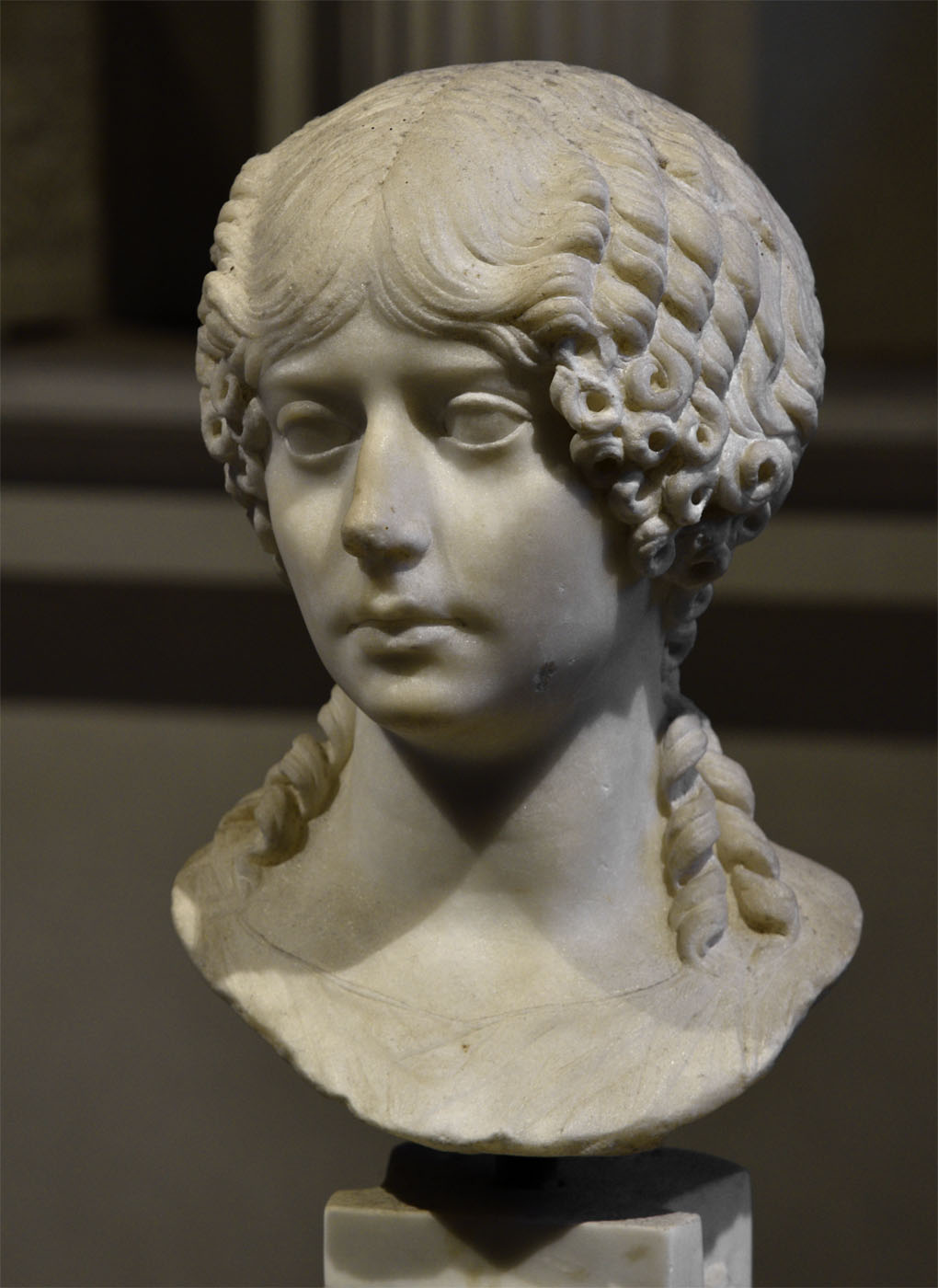Portrait of Minatia Polla. Marble. Ca. 40 CE. Inv. No. 1043. Rome, Roman National Museum, Baths of Diocletian, Aula X