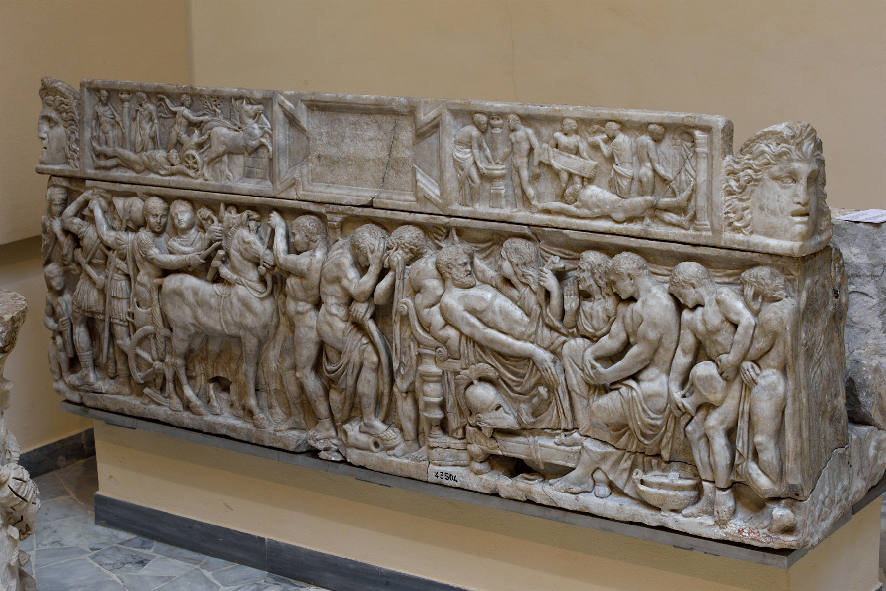 "Sarcophagus with representation of scenes from the Iliad (known as ""The Pianabella sarcophagus""). Greek marble. 160 CE. Inv. No. SBAO 43504. Ostia, Archaeological Museum"
