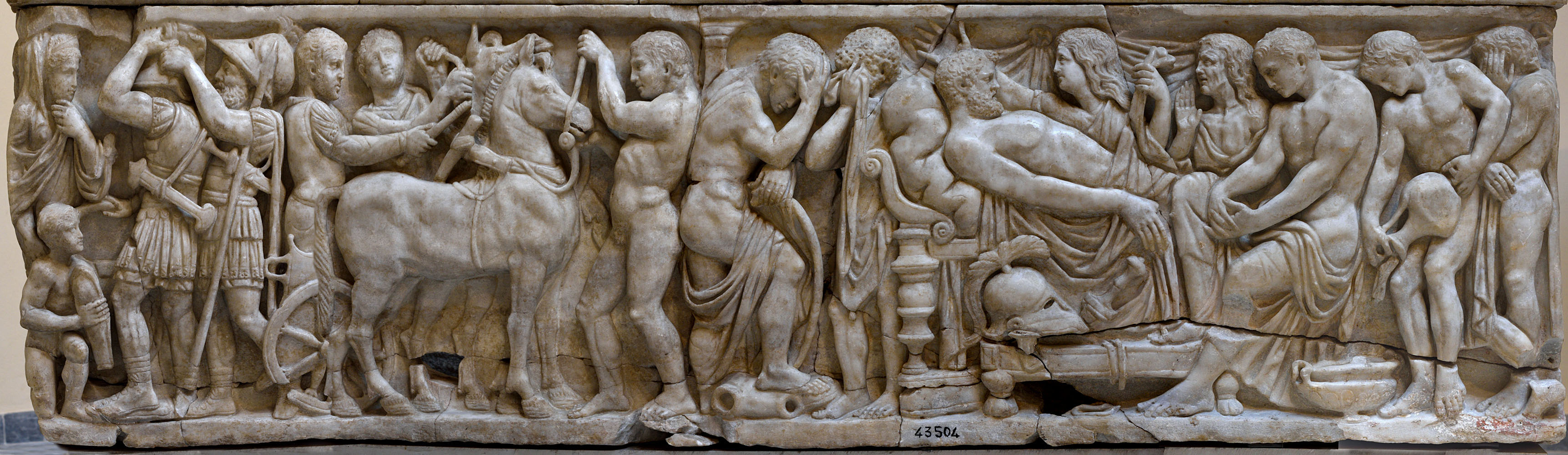 "Sarcophagus with representation of scenes from the Iliad (known as ""The Pianabella sarcophagus"") — the front panel. Greek marble. 160 CE. Inv. No. SBAO 43504. Ostia, Archaeological Museum"