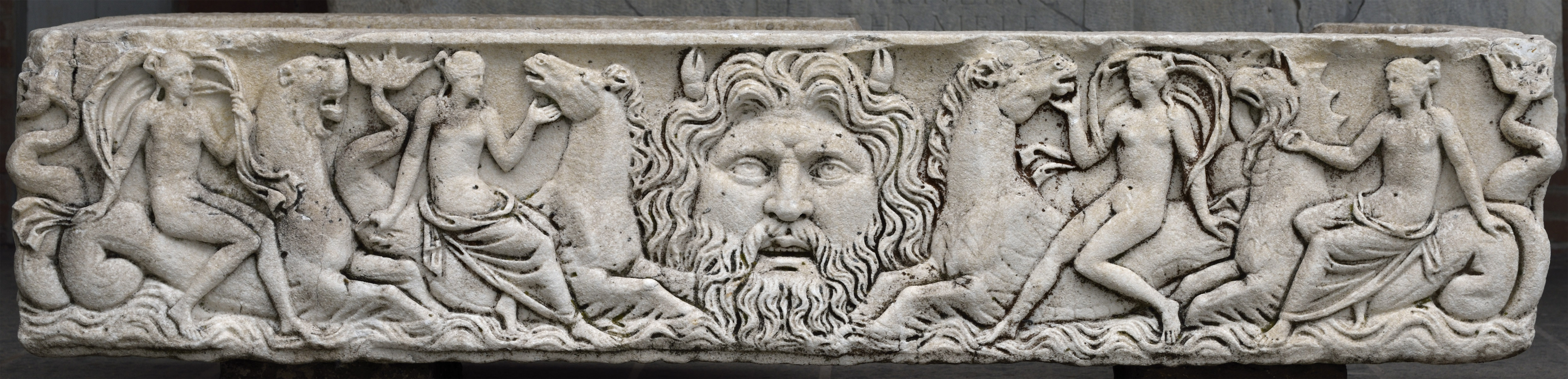 Sarcophagus with representation of marine thiasos and a head of Poseidon. Marble. 2nd—3rd cent. CE. Ostia, Archaeological Museum