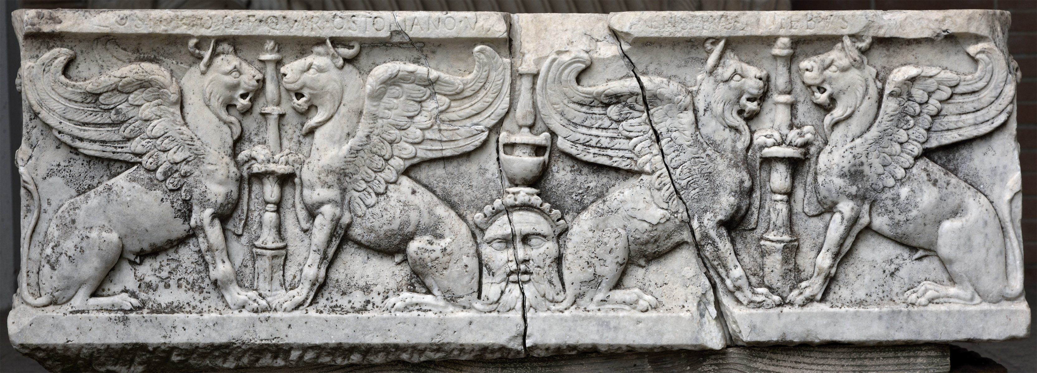 Sarcophagus with representation of griffins. Marble. 2nd cent. CE. Ostia, Archaeological Museum