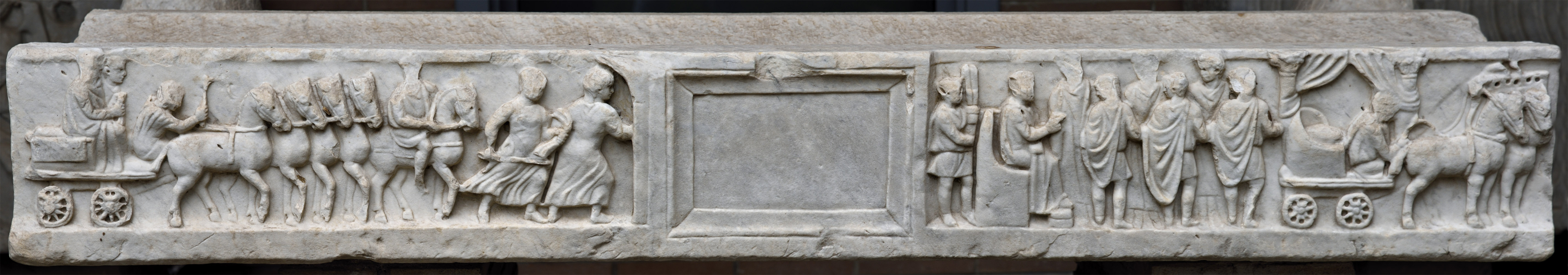 Sarcophagus with scenes of a jorney of the shadows of the married couple to the Underworld. Marble. 2nd—3rd cent. CE. Ostia, Archaeological Museum