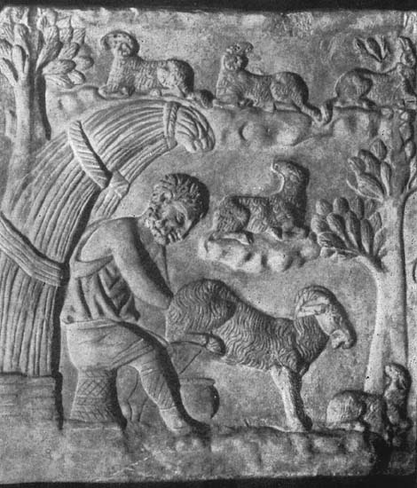 Herder. Relief on a sarcophagus. Rome